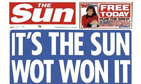 The Sun neatly predicting its own victory