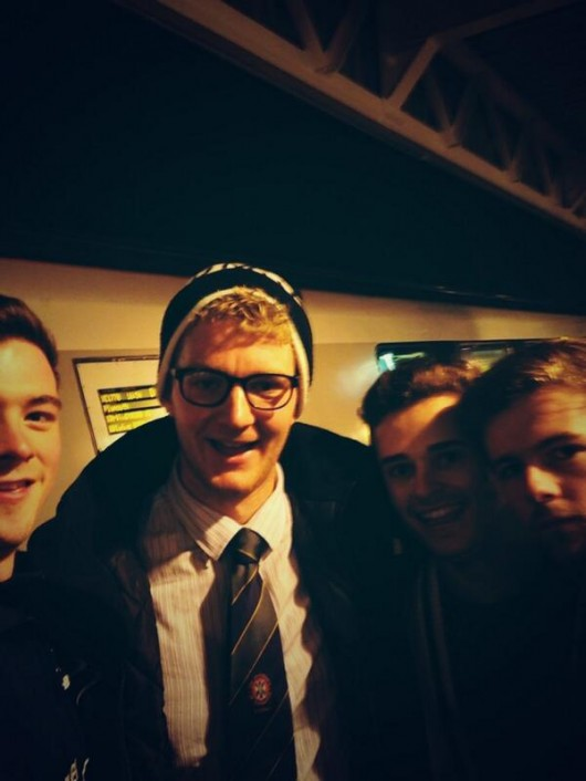 Jack dons his new Edinburgh tie for this quick selfie with the Durham boys