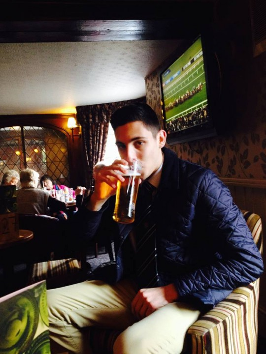 A casual pint of lager beer
