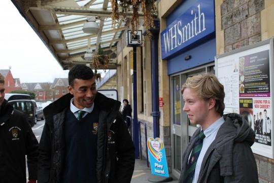 Alex Williams (EUMHC social sec) greeting Harry at St Davids.