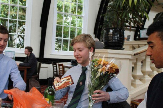 True Gents that they are, the EUMHC gave Harry flowers AND chocolate