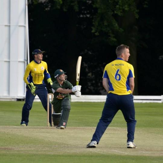 An Exeter batsman attempting to score runs.