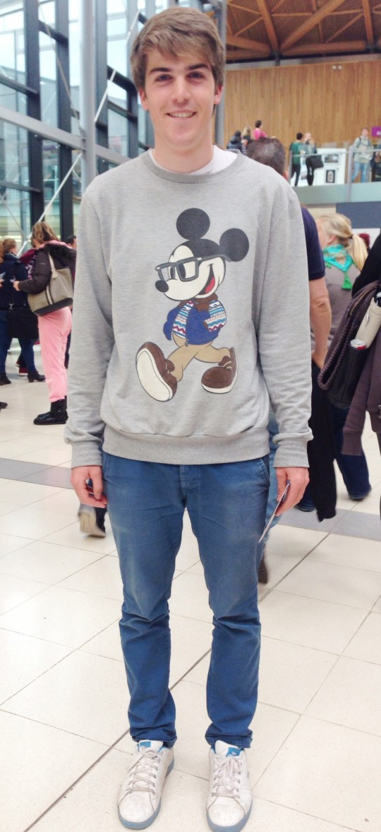 Sam keeps it old school with his cute Mickey Mouse jumper!