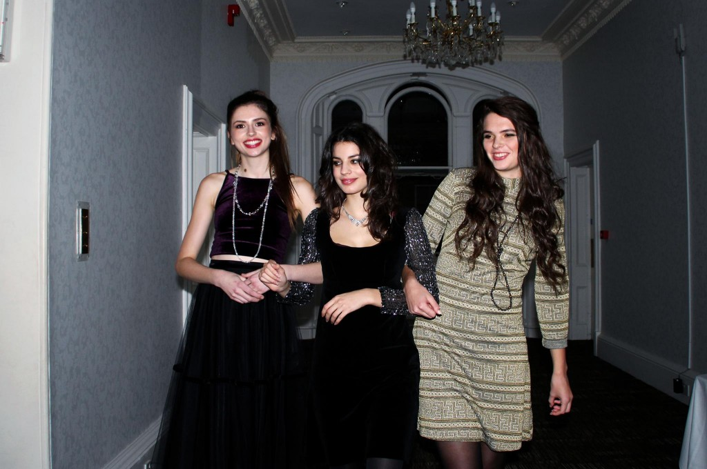 Ani in 60's velvet dress with silver sleeves £25, and diamanté necklace £30.