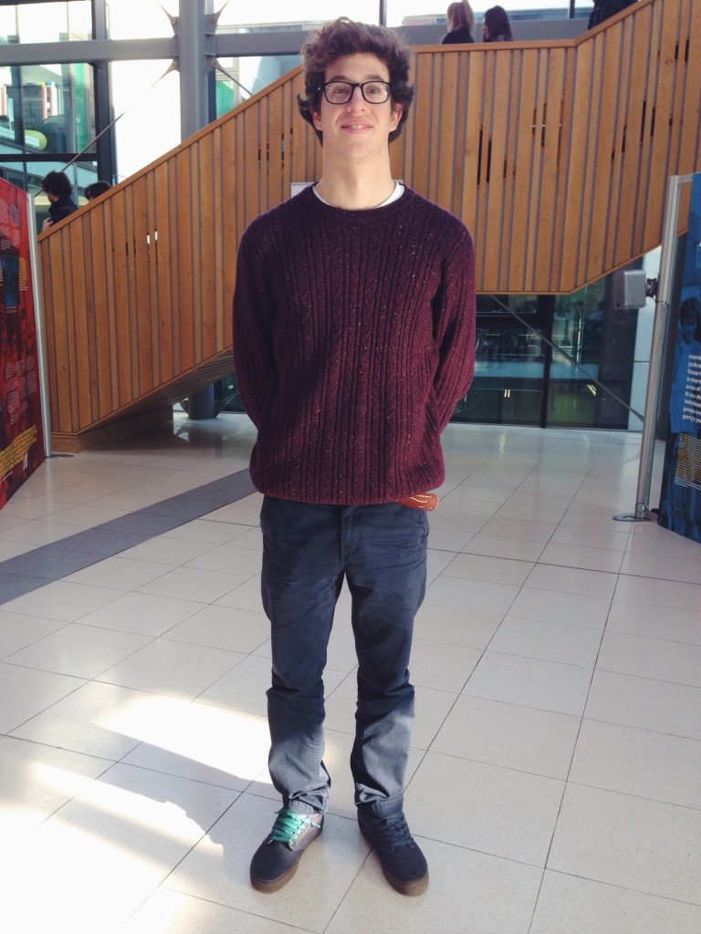 Ed keeps it winter warm with some maroon knitwear and classic chinos!