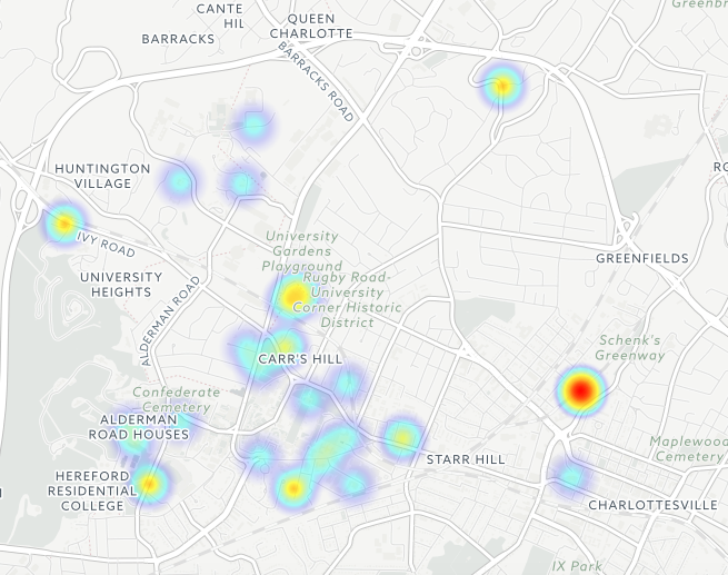 The full map of reported incidents at UVA. The dark red spot to the right are three incidents reported at Sigma Nu and one at Delta Kappa Epsilon