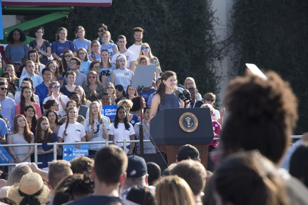 Isabel Trumbull speaking before President Obama. Photo: Brenna Elmore / The Tab