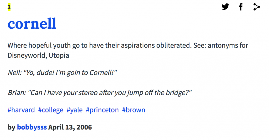 The most brutal Urban Dictionary definitions of Cornell