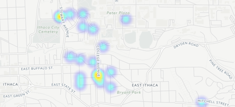 The full map of incidents reported by Cornell students to CUPD