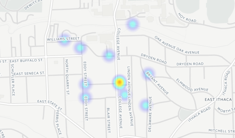A heat map focusing on the incidents reported in Collegetown