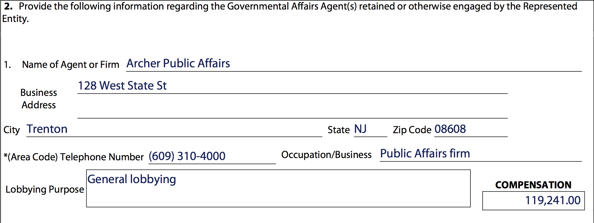 Payment to Archer Public Affairs reported on AICUNJ's 2016 lobbying disclosure.