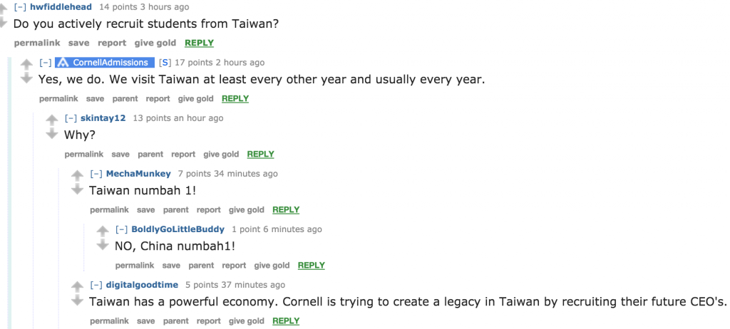 The best from Cornell Admissions' Reddit AMA