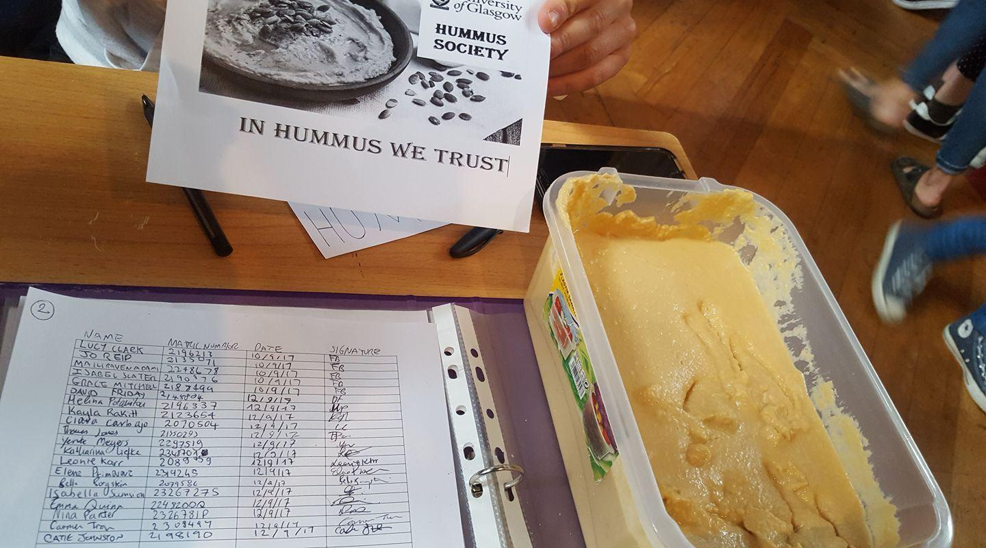 It was busy at the Freshers' Fair for Hummus Soc