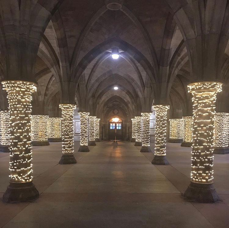 Image may contain: Column, Pillar, Aisle, Altar, Church, Flooring, Building, Architecture, Indoors, Crypt, Corridor
