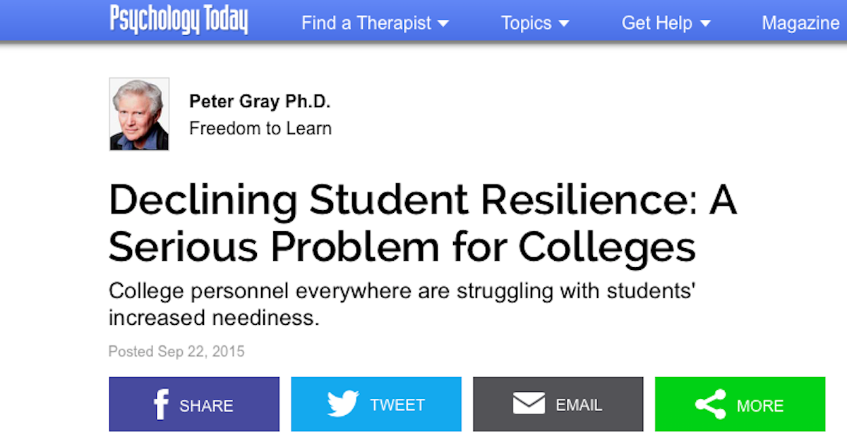 students fail because they lack resilience