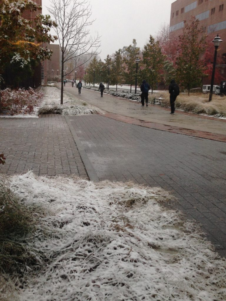 Some sad students walking to class in the snow. Photo credit: Sydney Jennings