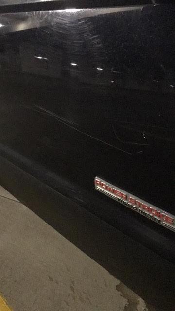 The key marks on Blatter's truck.