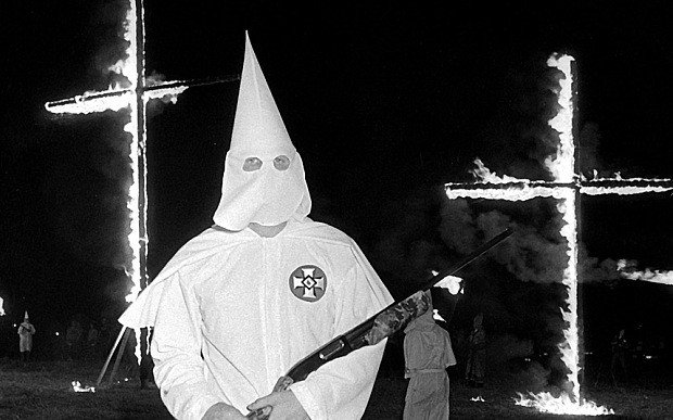 Comparisons between Black Lives Matter and the Ku Klux Klan are wrong on so many levels, but the first thing that comes to mind is that the Black Lives Matter movement doesn't prance around in ridiculous costumes because they're too afraid to show their faces. (Photo courtesy of the Arkansas Times)