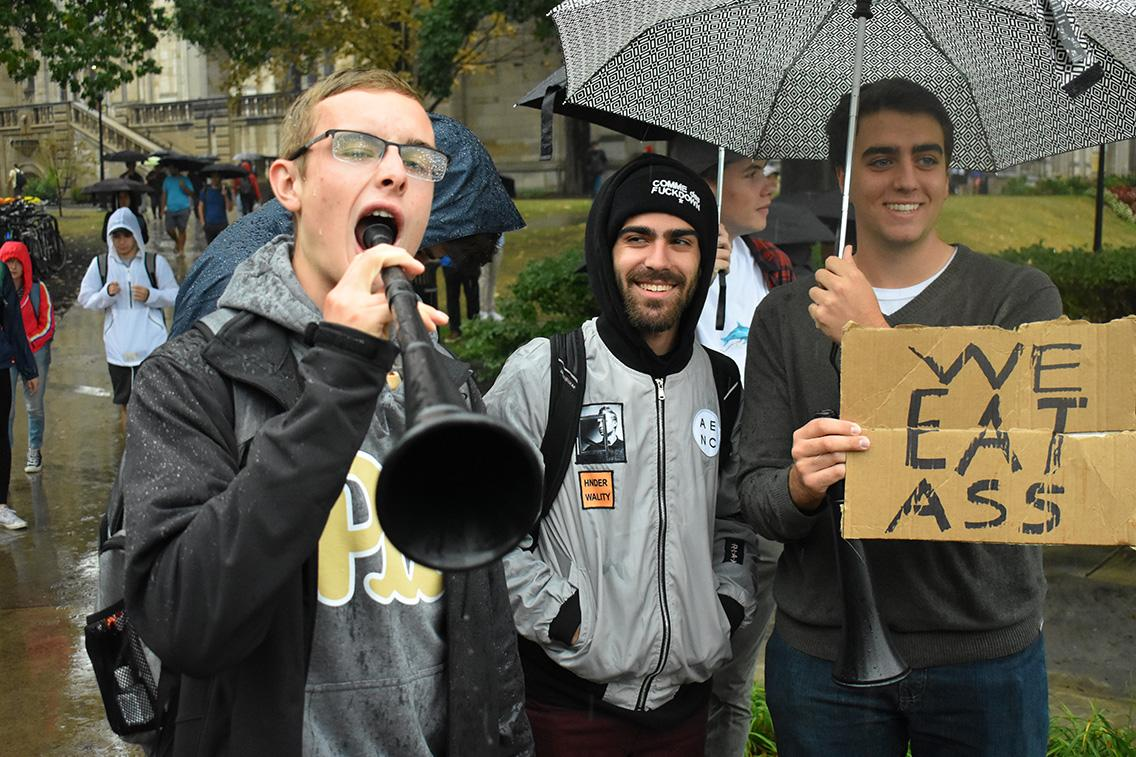 Some Pitt students crafted a quick sign to show their support for the gay community while also tooting their own horn