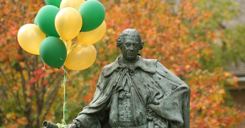 Statue of Thomas Jefferson in Williamsburg VA holding balloons