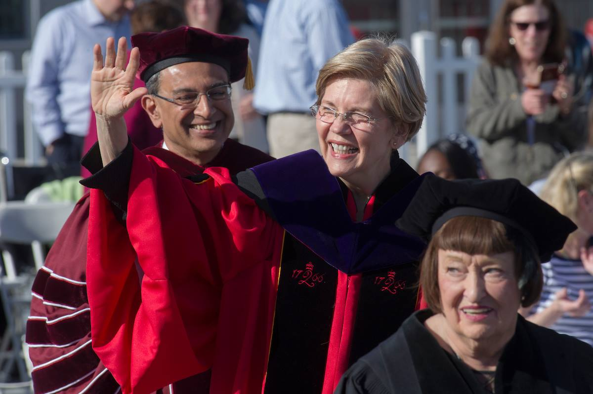 Elizabeth Warren and Kumble Subbaswamy at UMass Amherst 2017 commencement