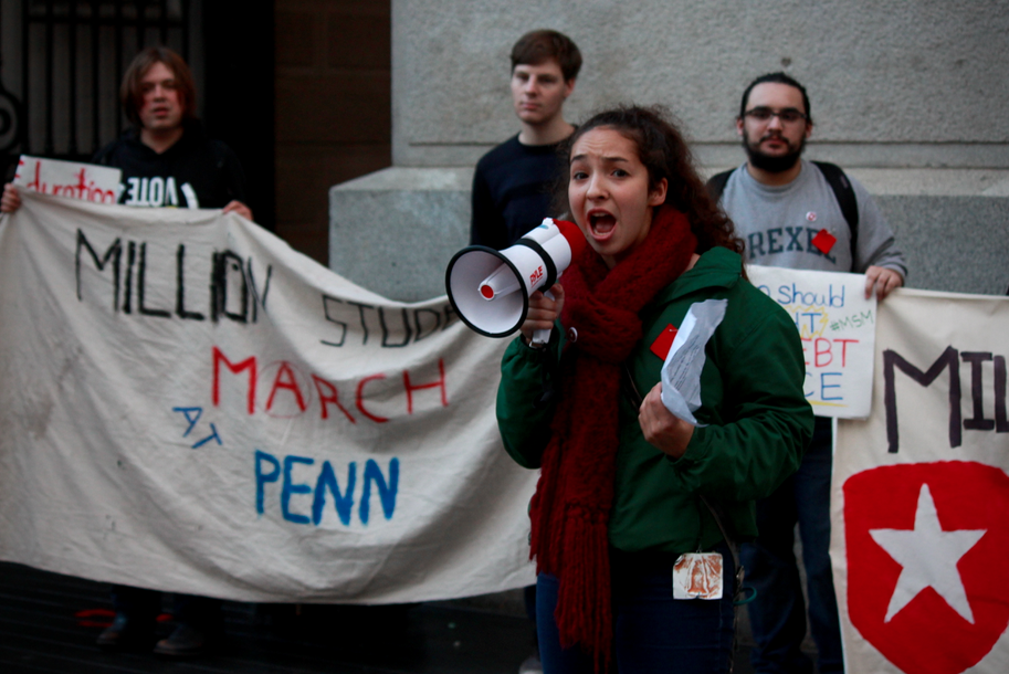 A student leads Drexel and UPenn's protest at City Hall before Temple protesters arrive.