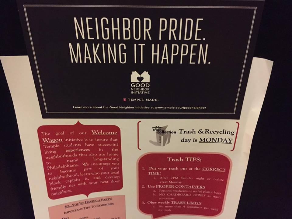 Temple's Good Neighbor Initiative's flyer shares tips on taking out trash, sorting recyclables and how to have an off-campus party without upsetting the neighbors.