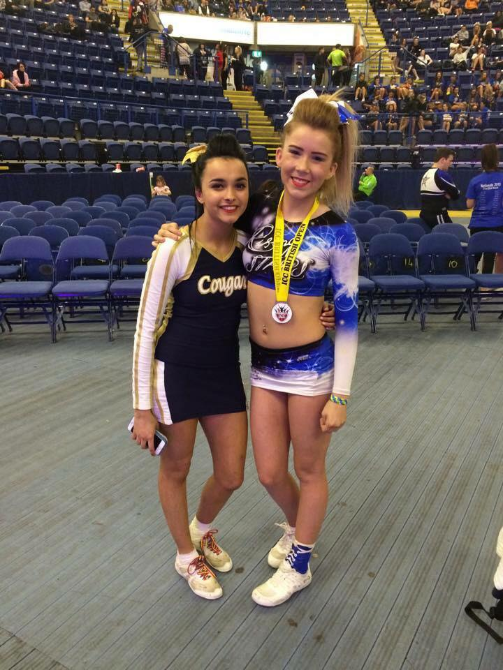 Ruana with Emily Bonney, a cheerleader from Rising Stars who also has CF.