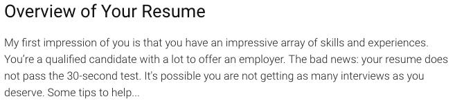 beware of free resume critique