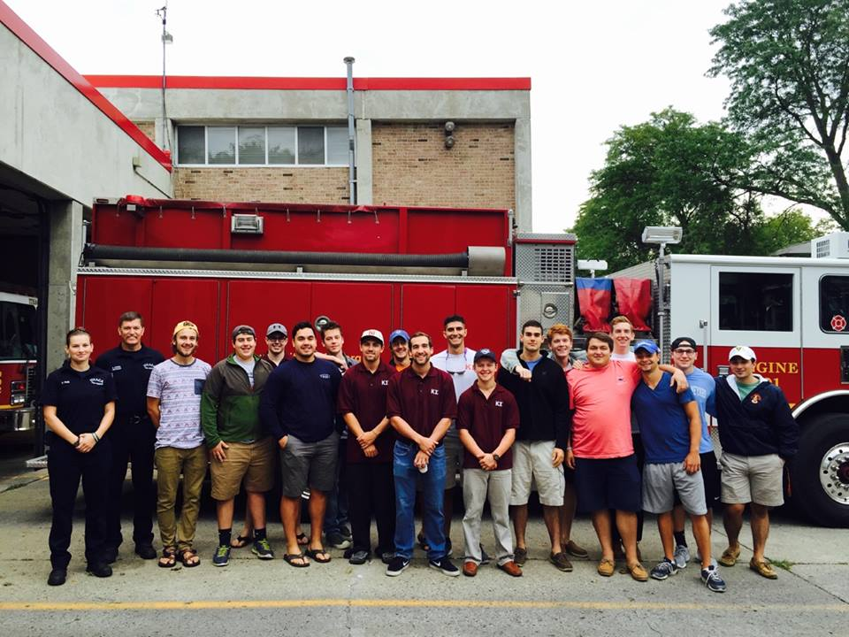 Some of the Kappa Sig brothers at the Ithaca Fire Dept.