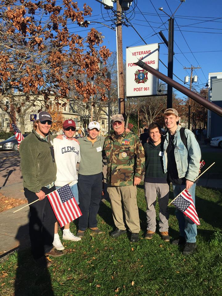 Kappa Sig volunteering at the Veterans Day Parade