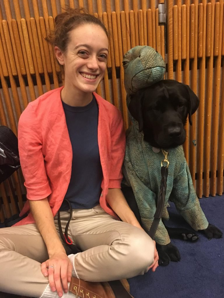 Nicole Raider and her pup, Bowie, one-year old male lab.