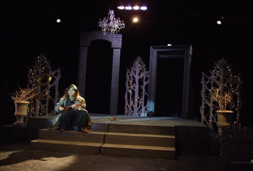 Evie Appleson as Feste, in a production of Twelfth Night