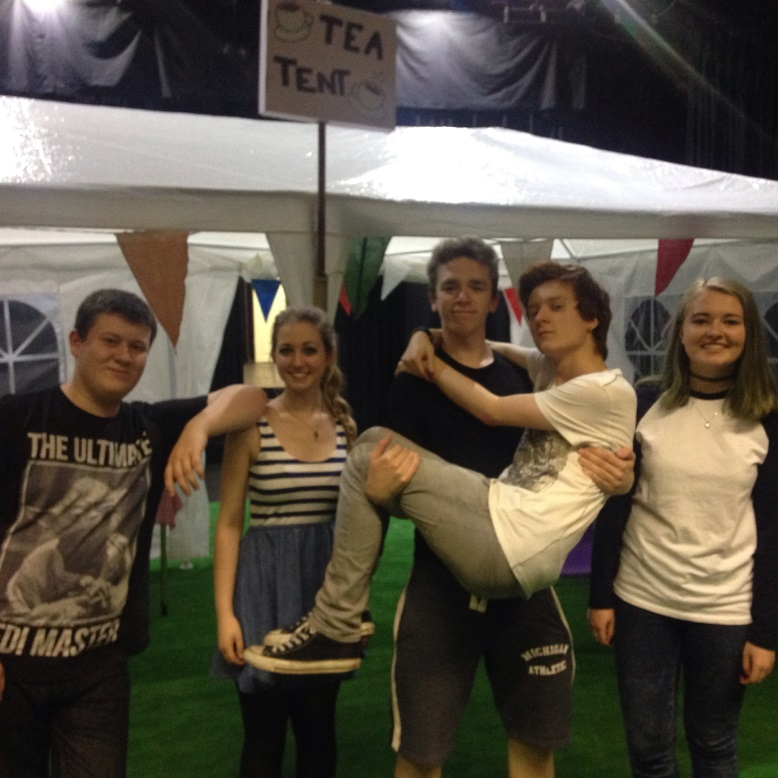 (from left to right) Luke Playford, Alicia Mason, Jack Tosney, Dominic Leonard and Rachel Horner as the cast of Gosforths Fete