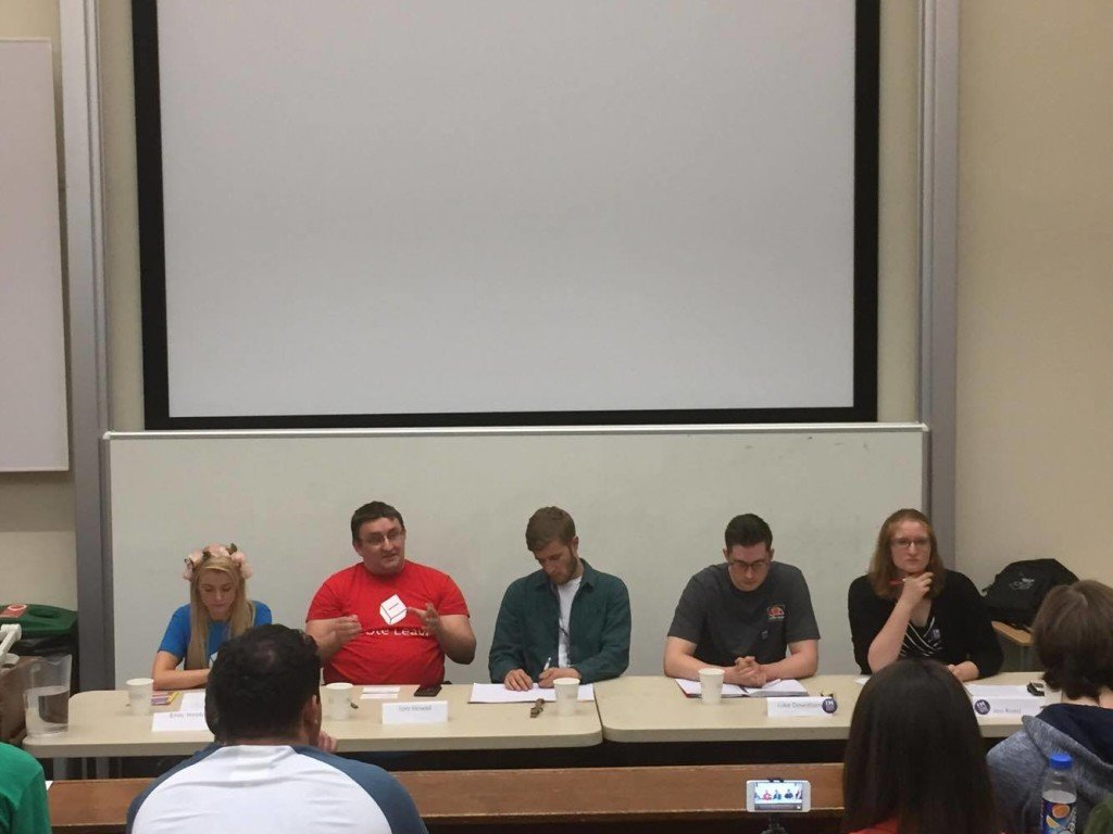 Left to right: Emily Webb and Tom Howell from Vote Leave. Jack Palmer : debate chair. Luke Downham and Jess Reed from Britain Stronger in Europe