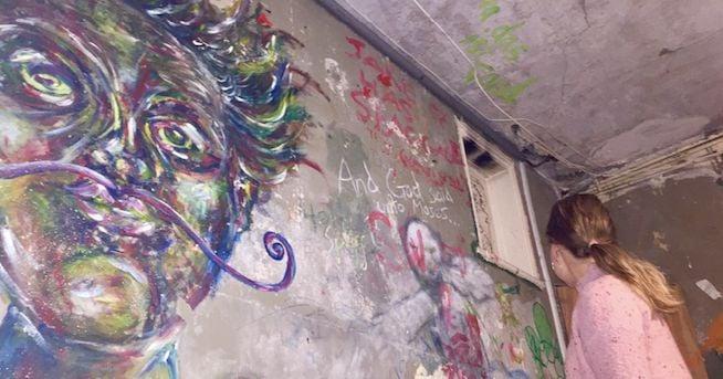 Image may contain: Graffiti, Art