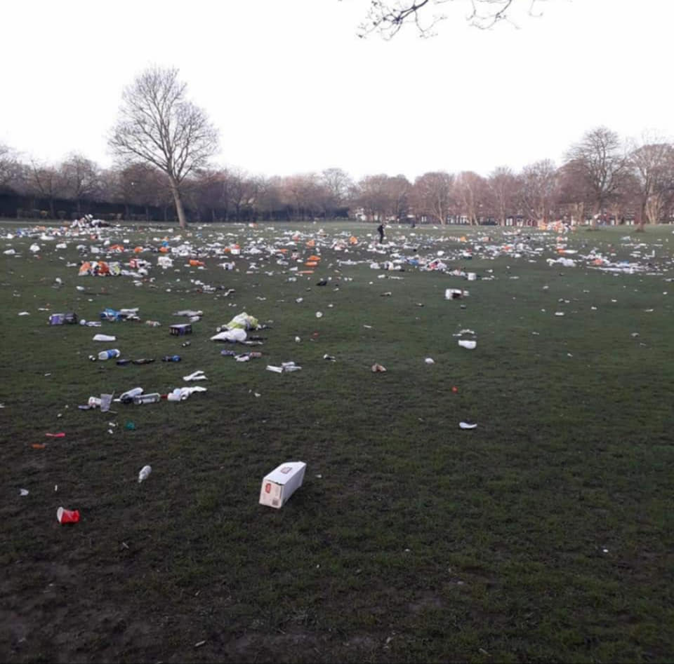 Rubbish left by gatherers spreading out across the park