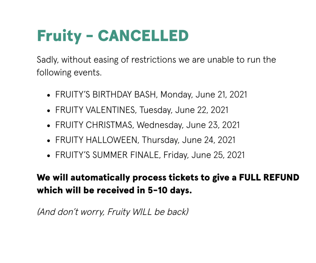 Screenshot of post stating that all Fruity events are cancelled.