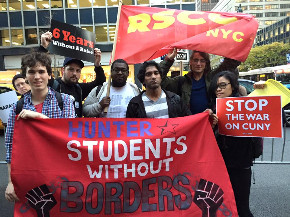 Members of Students Without Borders and Revolutionary Student Coordinating Committee at a CUNY Professional Staff Congress (PSC) rally to demand a contract with CUNY on November 4. PSC has not had a new contract with CUNY since 2010.