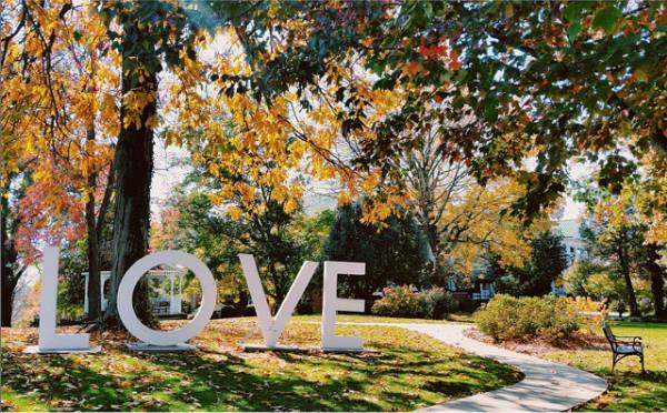 The LOVE sign that get's moved around Abingdon. Photo by Heath Owens