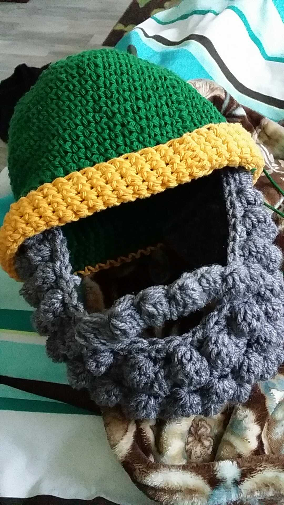 A beard hat I made for my boyfriend's father for Christmas.