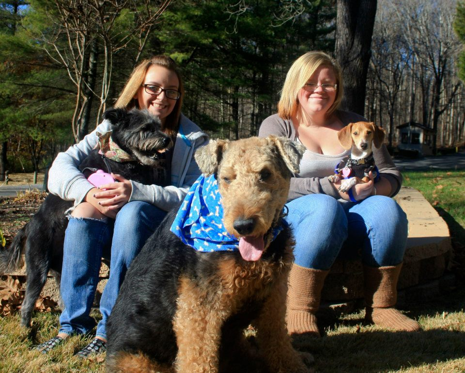 From left to right (people): me and my sister. From left to right (dogs): Mandy, Soldier, and Sammy