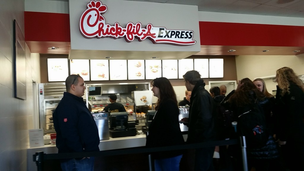 Students waiting in line to order Chick-fil-A