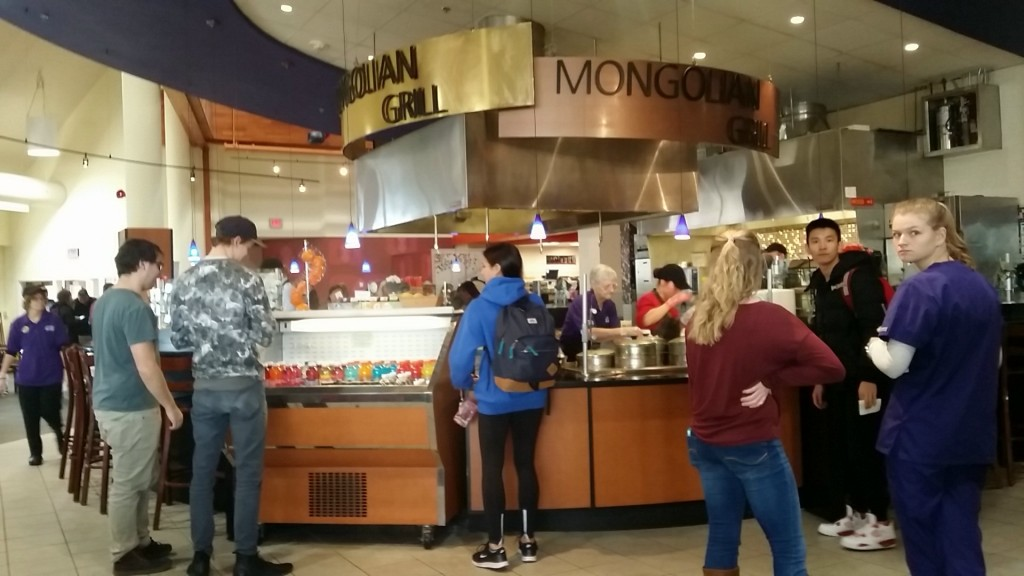 Students waiting for their food at Mongolian Grill