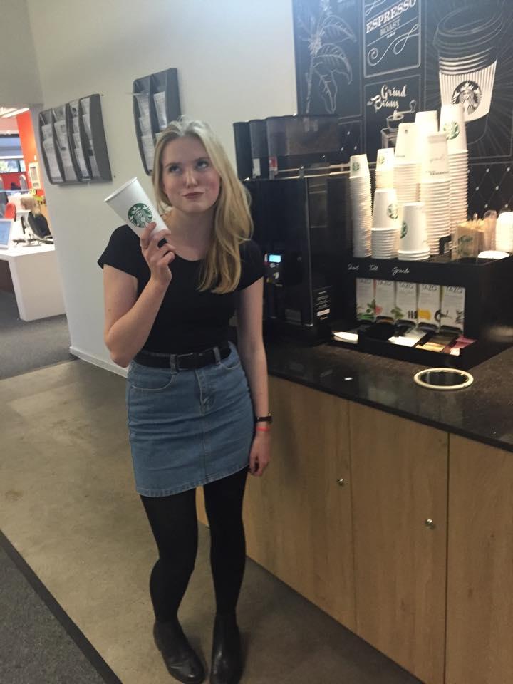 lucy unimpressed w coffee machine