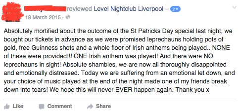 """My heart cries for this lady. No leprechauns? No Guinness shots? And I bet the one song was C'est La Vie by B*Witched. Even while suffering """"emotional let down"""" she still gave a generous two stars."""