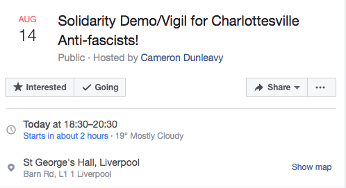 Event details on the Facebook page
