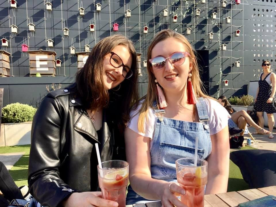 Image may contain: Smoothie, Dating, Glass, Glasses, Alcohol, Beer, Woman, Blonde, Child, Girl, Female, Teen, Kid, Drink, Juice, Beverage, Apparel, Clothing, Accessory, Accessories, Sunglasses, Human, Person