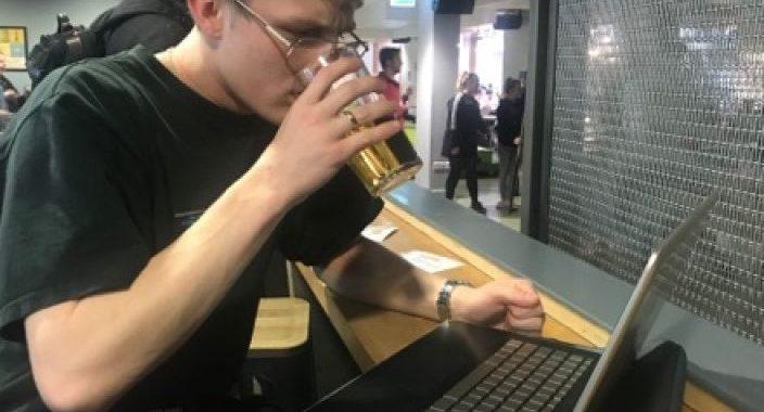 Image may contain: Drink, Beverage, Pc, Laptop, Computer, Keyboard, Hardware, Computer Hardware, Electronics, Computer Keyboard, Human, Person