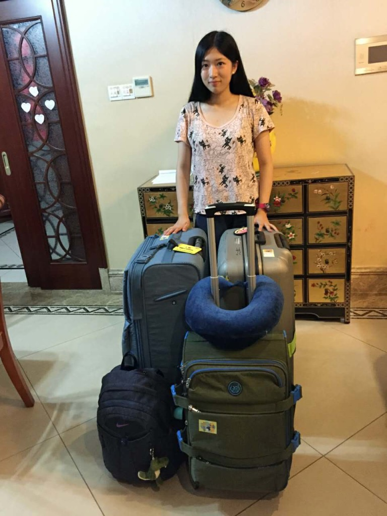 Me with all my luggages at home on the eve of leaving for Vanderbilt.